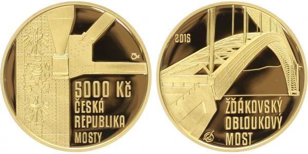 5000 Kč(2015-Žďákovský obloukový most), stav PROOF, etue a certifikát