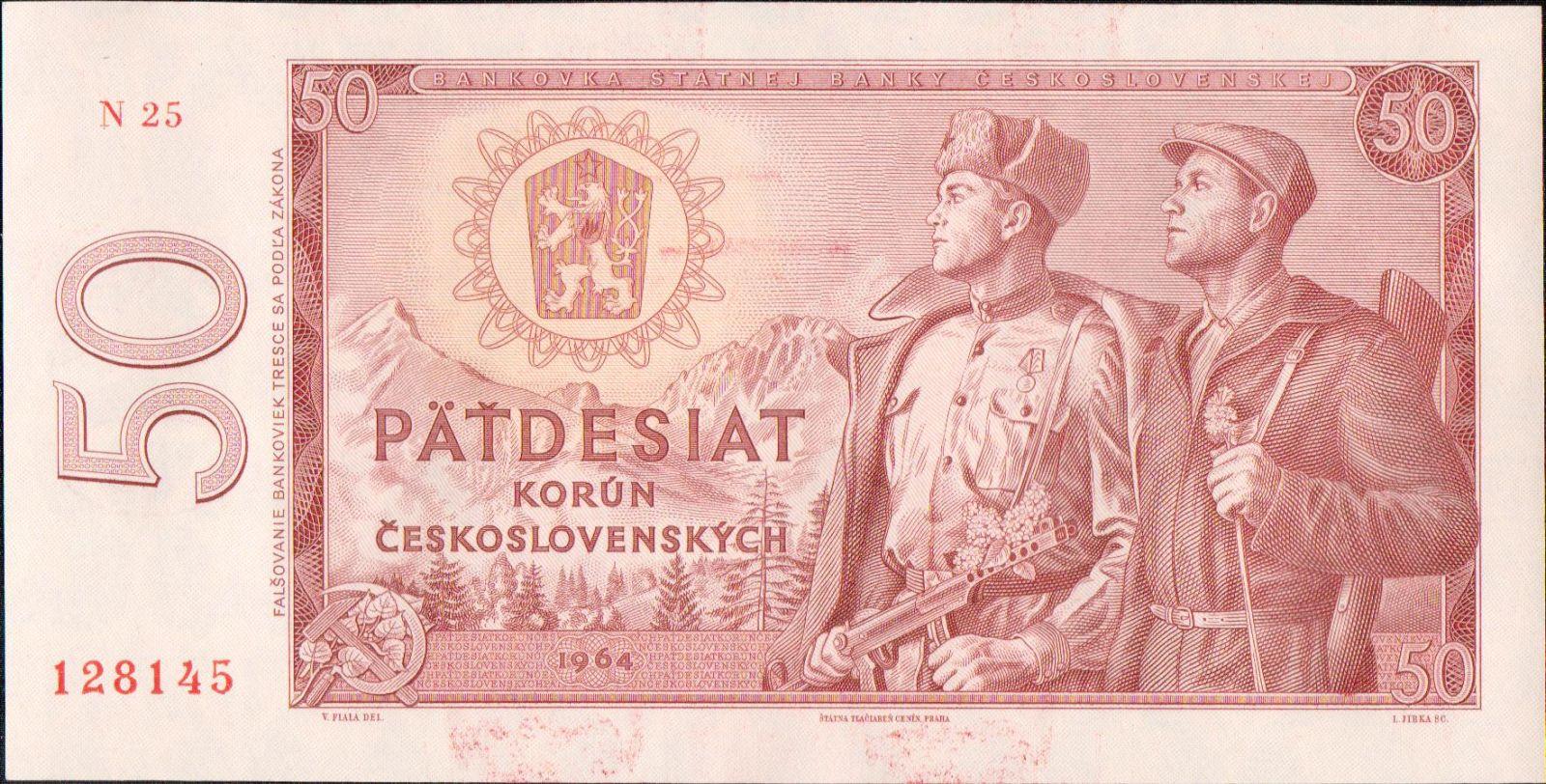 50Kčs/1964/, stav UNC, série N