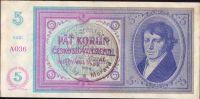 5Kč/1938-40/, stav 0, série A 036 - ruční přetisk