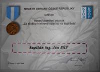 ČR – dekret Za službu v mírové operaci na Balkáně