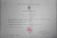 ČSR Propouštěcí list vojáka ČSLA