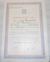 ČSR Propouštěcí list vojín Vondráček