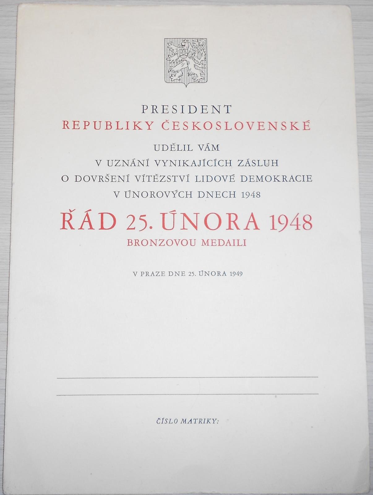 ČSSR Dekret – řád 25. února 1948