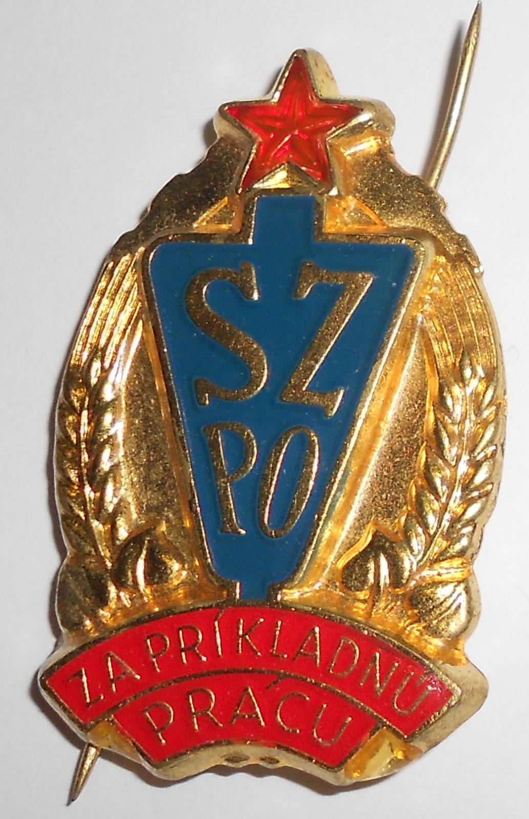 ČSSR Slov. svaz požární ochrany za příkladnou práci