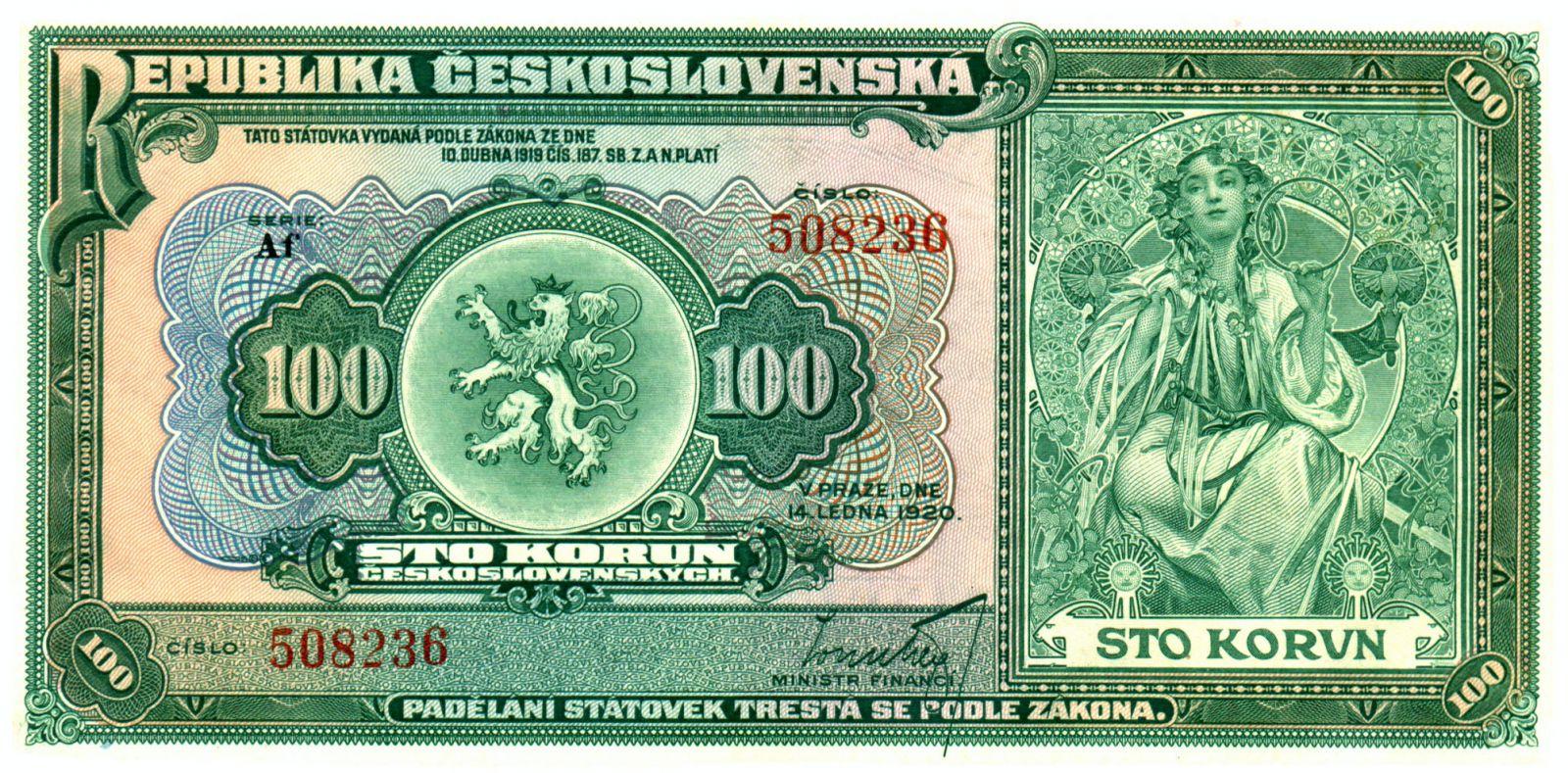 KOPIE 100Kč/1920/, stav UNC