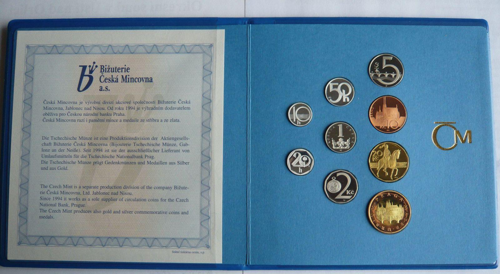 Ročníková sada oběžných mincí ČR (2002), stavy PROOF