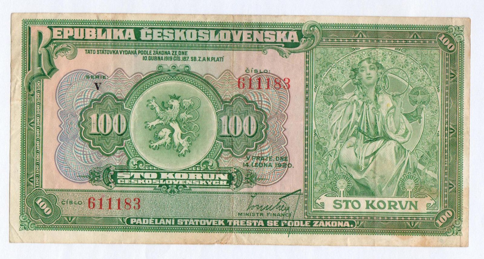 100Kč/1920/, stav 2-, série V