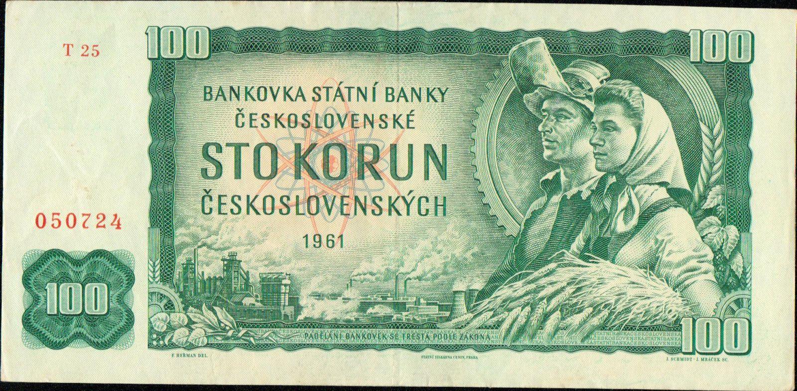 100Kčs/1961/, stav 1+, série T 25