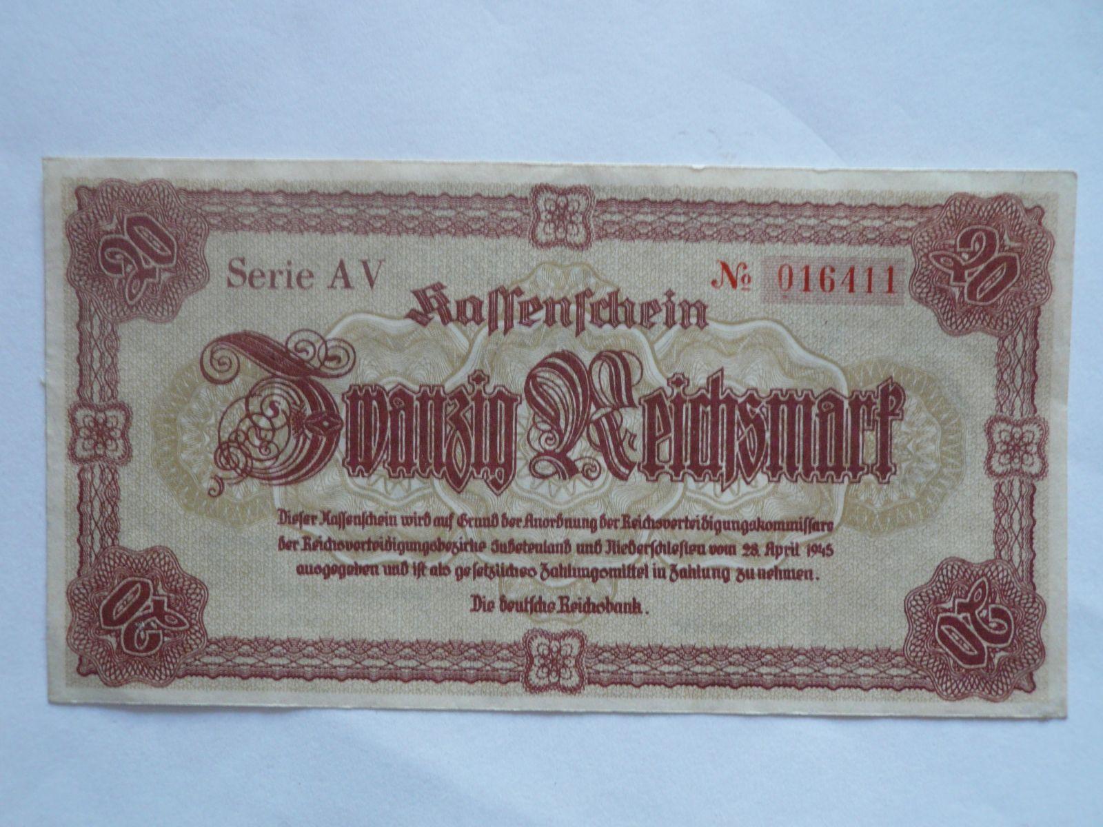 20 Reichsmark, Německo, Liberec, 1945