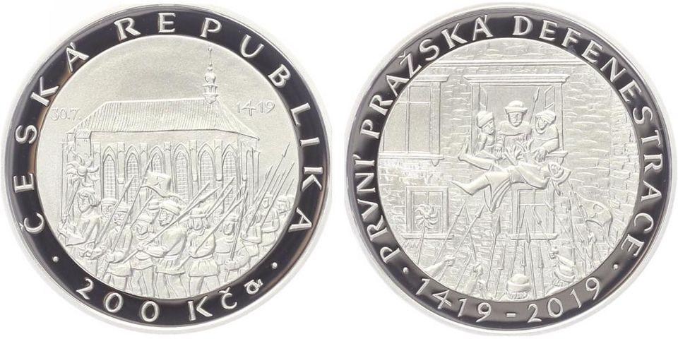 200 Kč(2019-600. let od první pražské defenestrace), stav PROOF, etue a certifikát