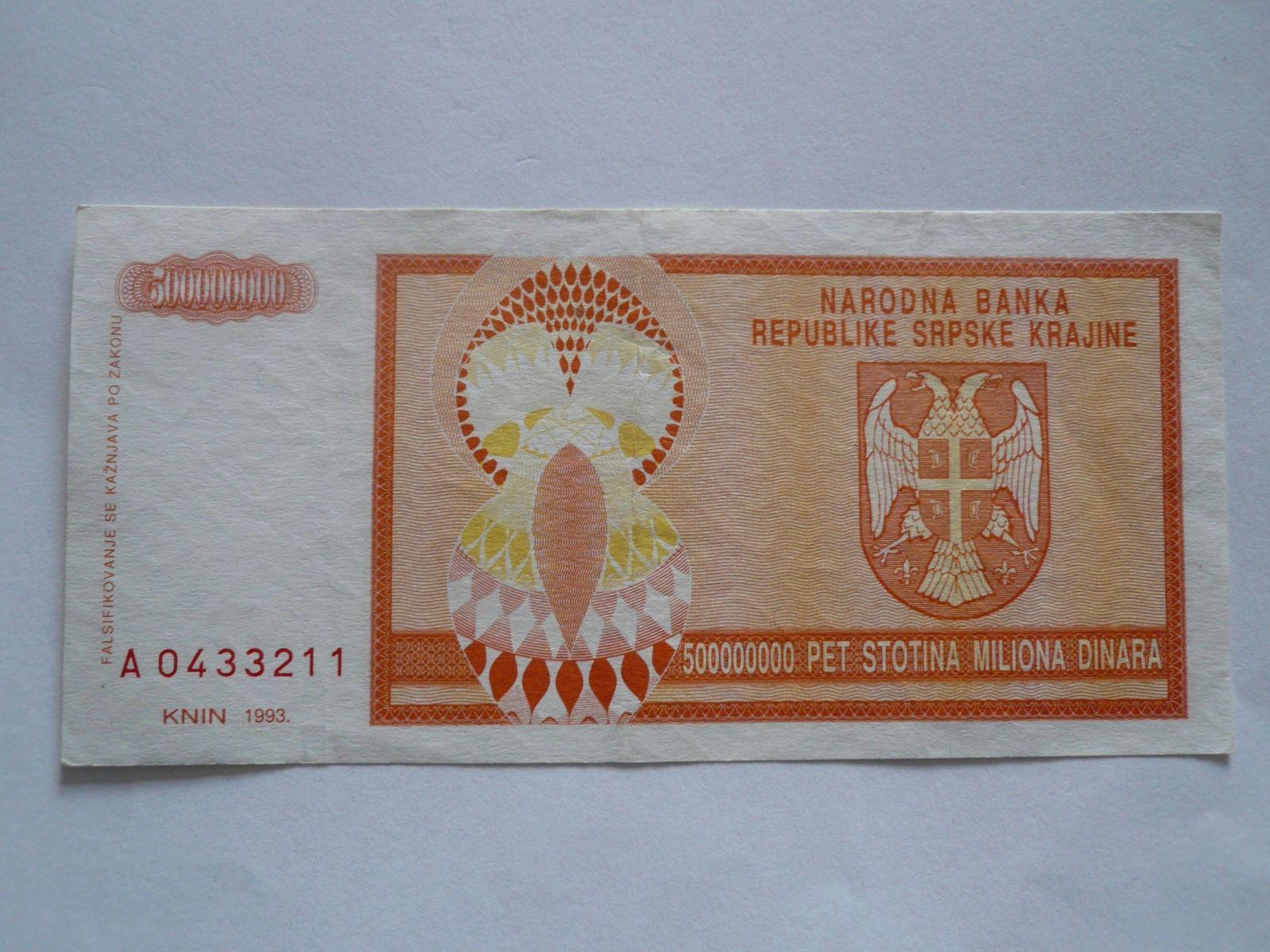 500 mil. Dinárů, Srbsko, 1993