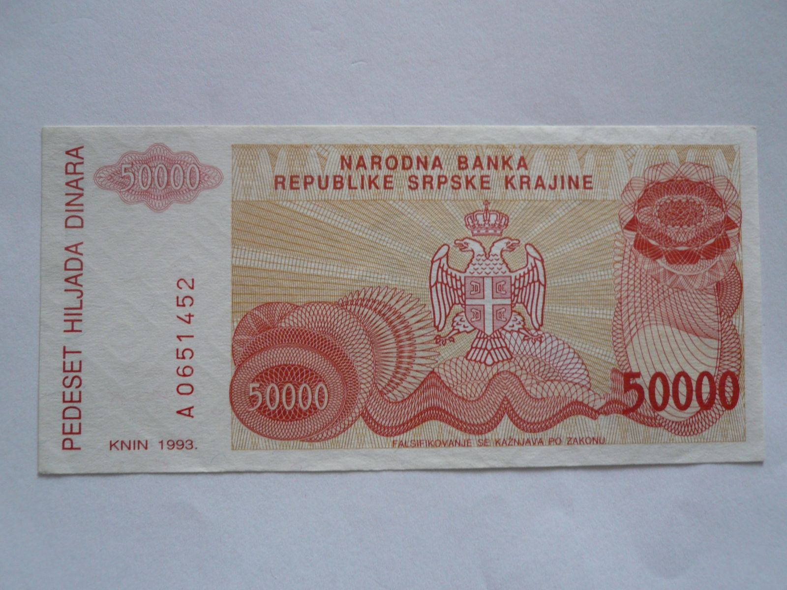 50000 Dinárů, Srbsko, 1993