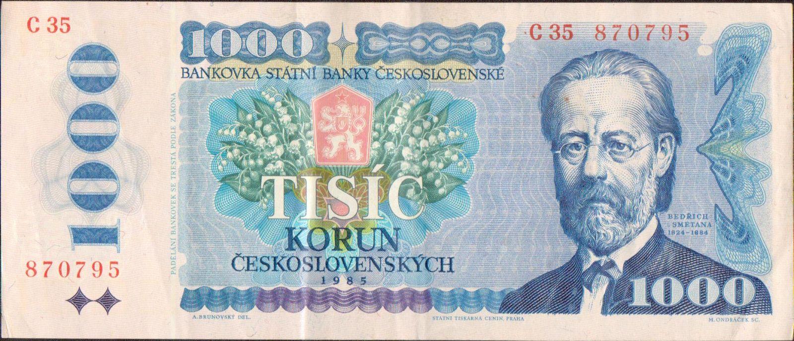 1000Kčs/1985/, stav 2-, série C