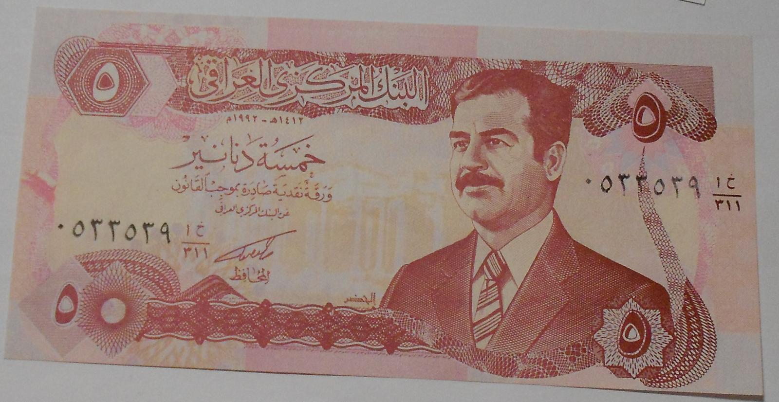 Irák 5 Dinárs Husain, červená