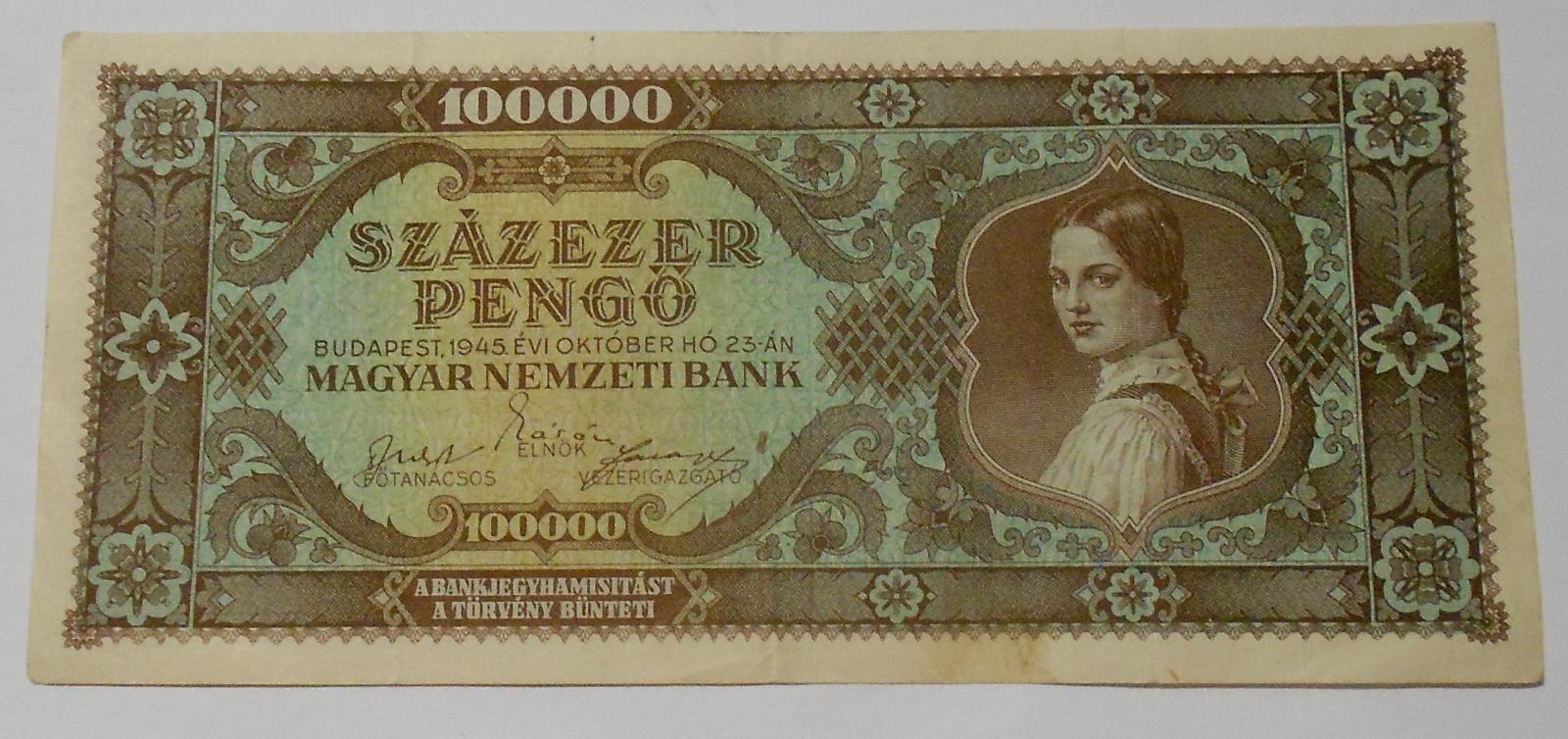 Maďarsko 100 000 Pengo 1945