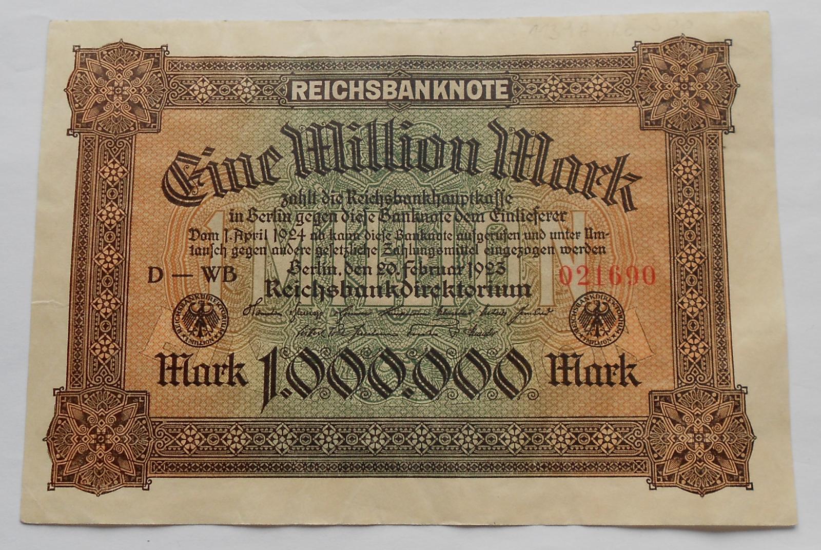 Německo 1 mil Marek 1923 Ro85a