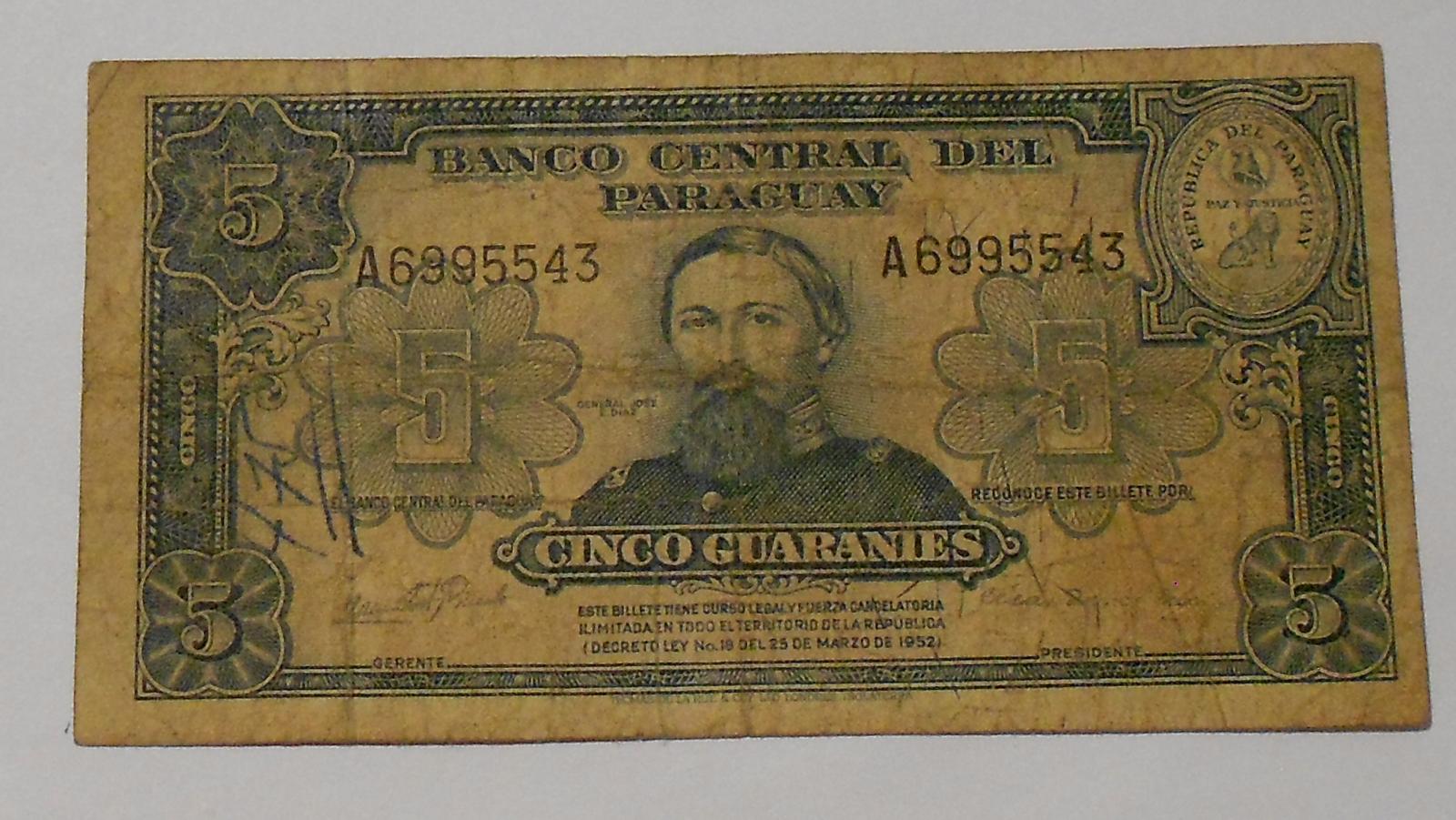 Paraguay 5 Guaranies Generál Diar