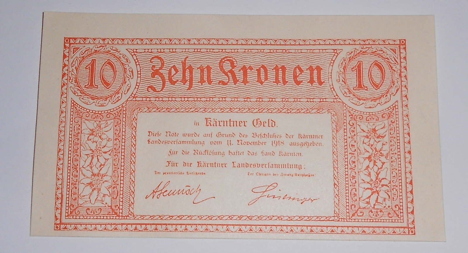 Rakousko 10 Korun 1918 – Korutany, nouzovka