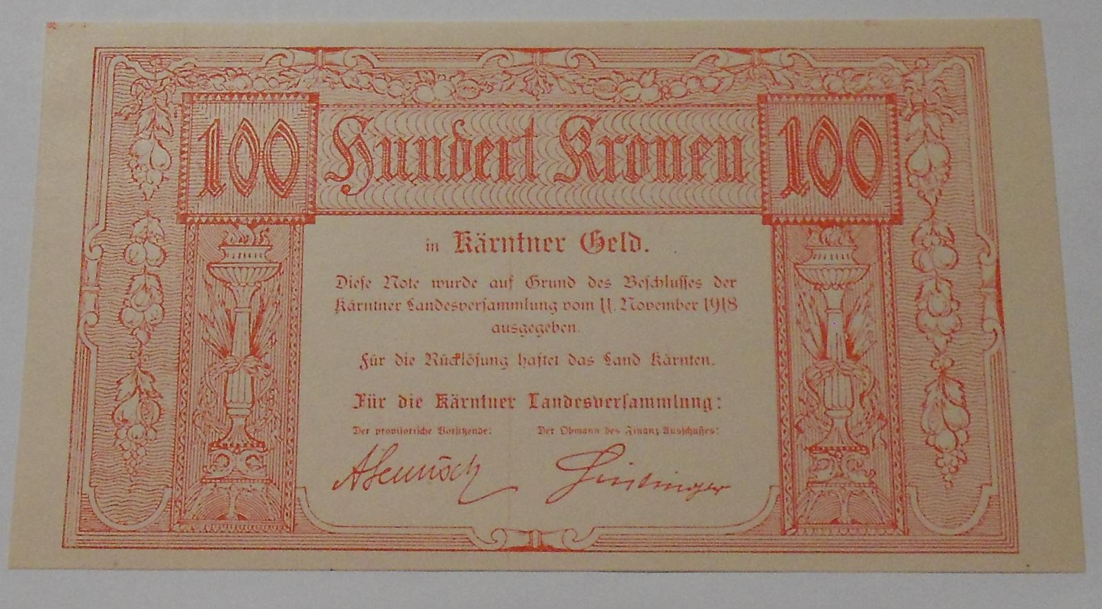 Rakousko 100 Korun 1918 – Korutany, nouzovka