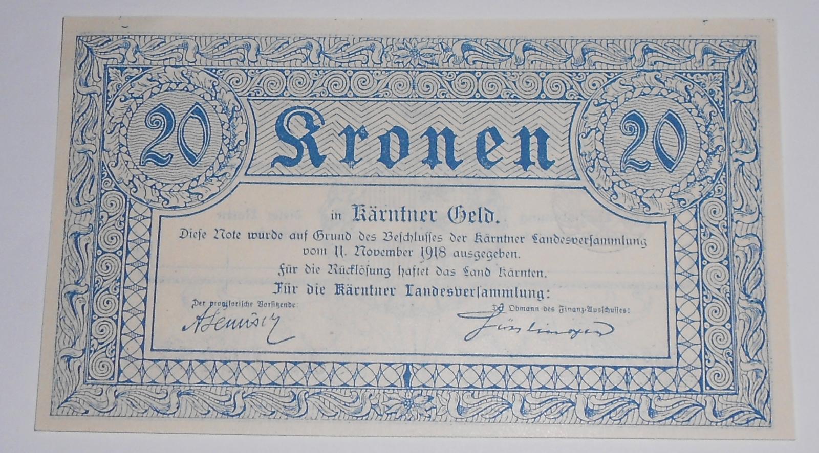 Rakousko 20 Korun 1918 – Korutany, nouzovka