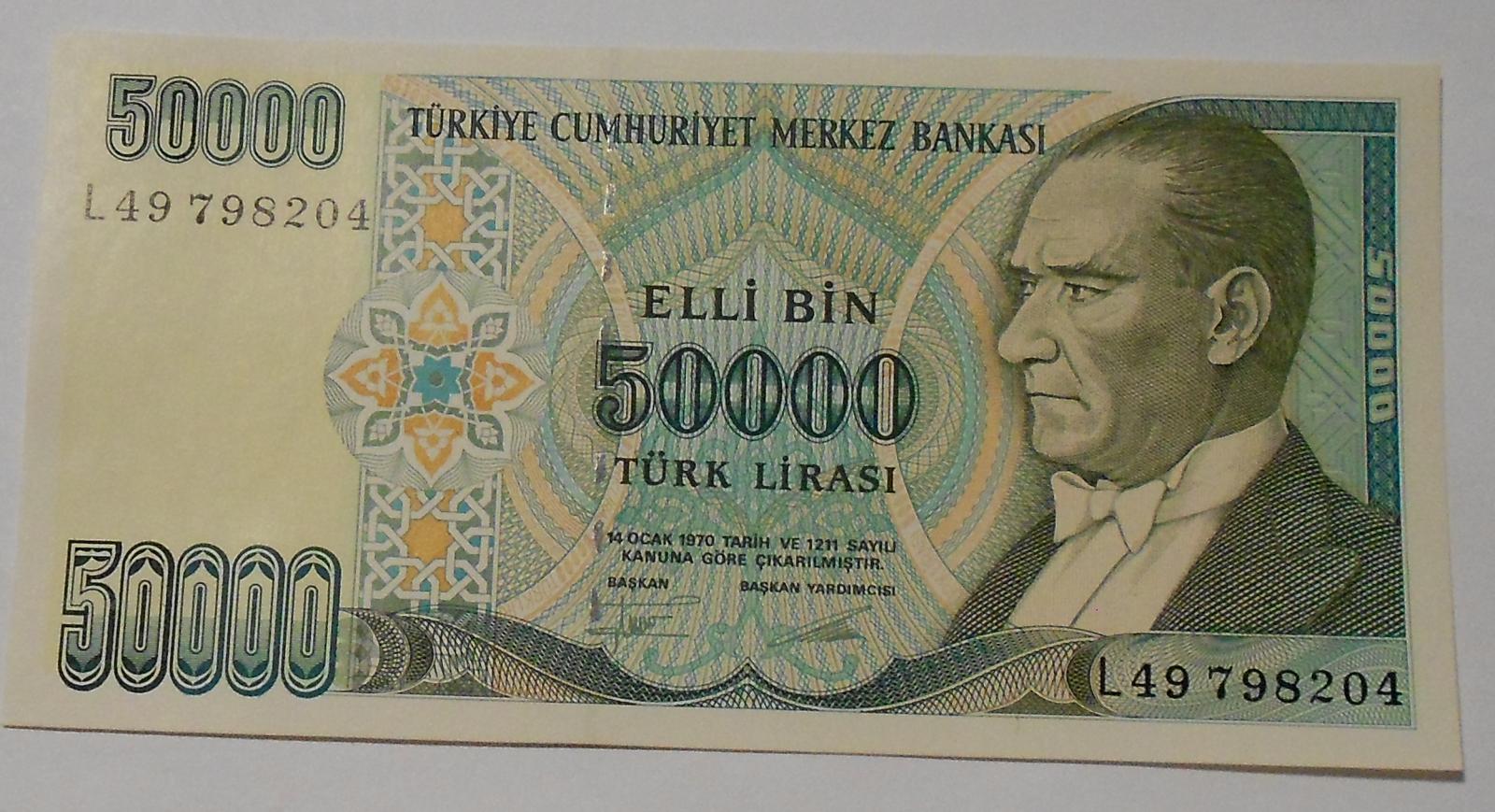 Turecko 50 000 Lirasi 1970