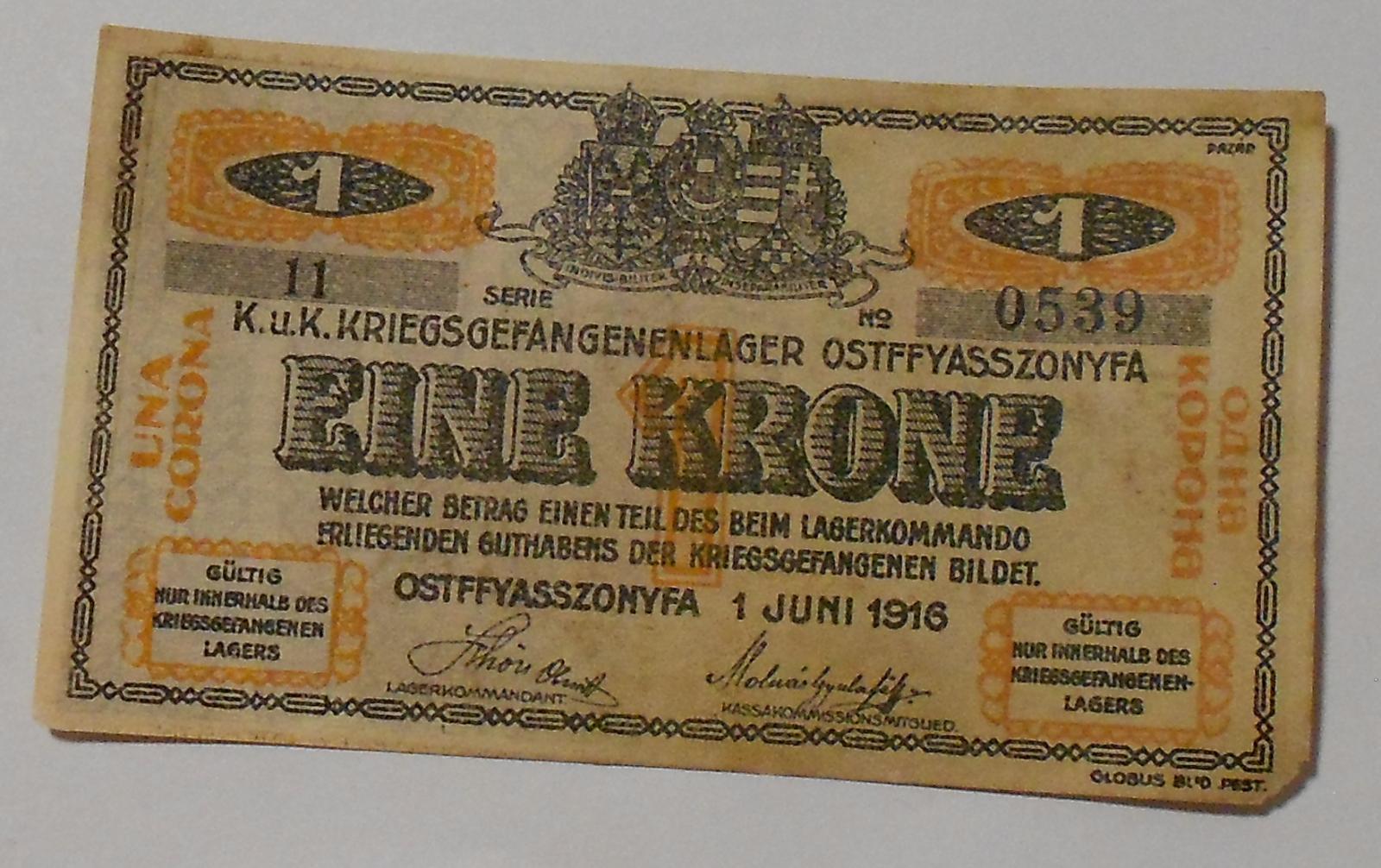 Uhry Zajatecký tábor 1 Krone 1916
