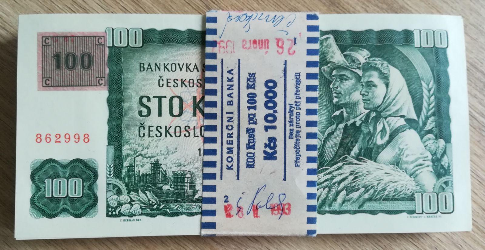 100Kč/1961-93, kolek ČR/, stav 0/UNC, série G, originální balíček Komerční banky, 100 ks!