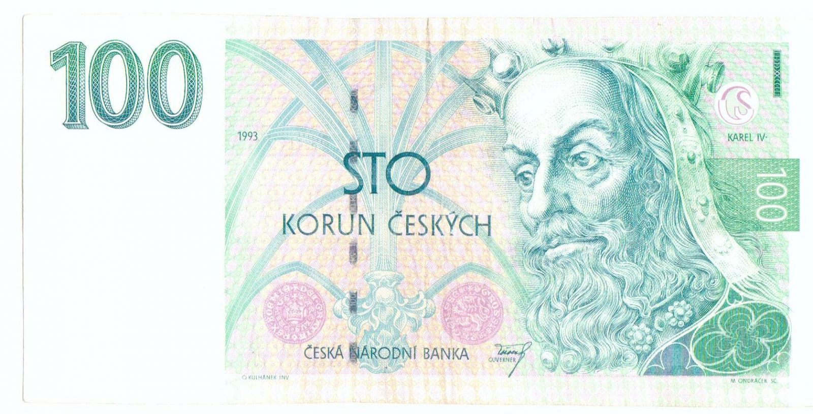 100Kč/1993/, stav 3+, vzácná série Z 01