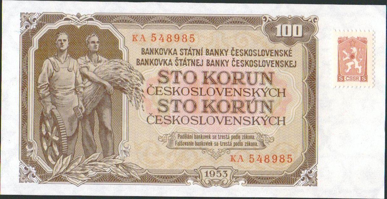 100Kčs/1953-kolek tzv. Kubánské krize/, stav UNC, tisk STC Praha