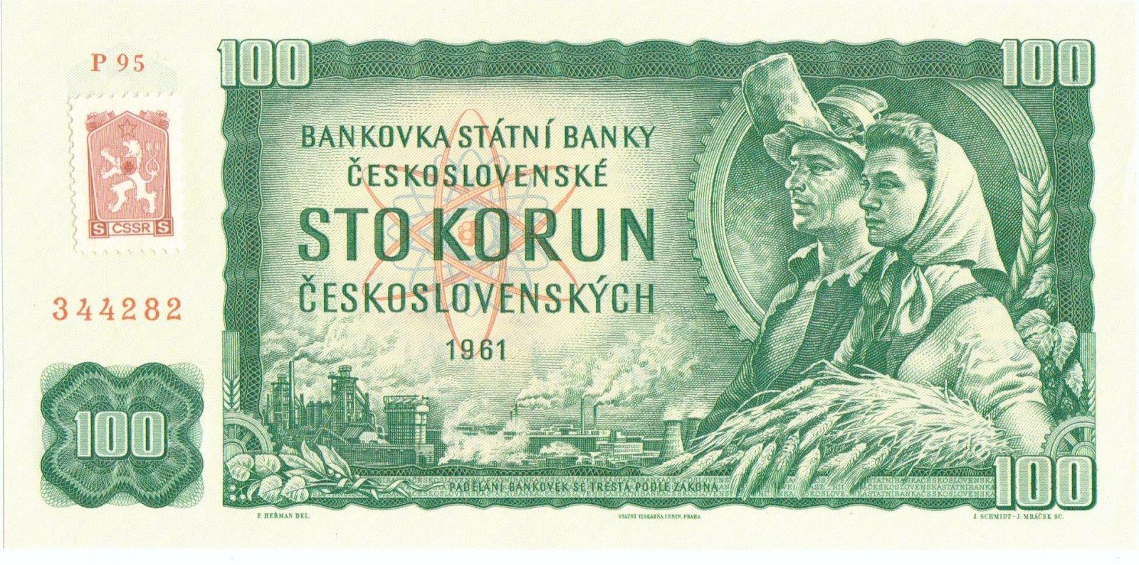 100Kčs/1961-kolek tzv. Kubánské krize/, stav UNC, série P