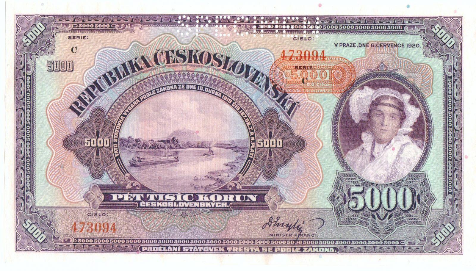 5000K/1920-43, přetisk Protektorát Čechy a Morava/, stav UNC perf. SPECIMEN, série C