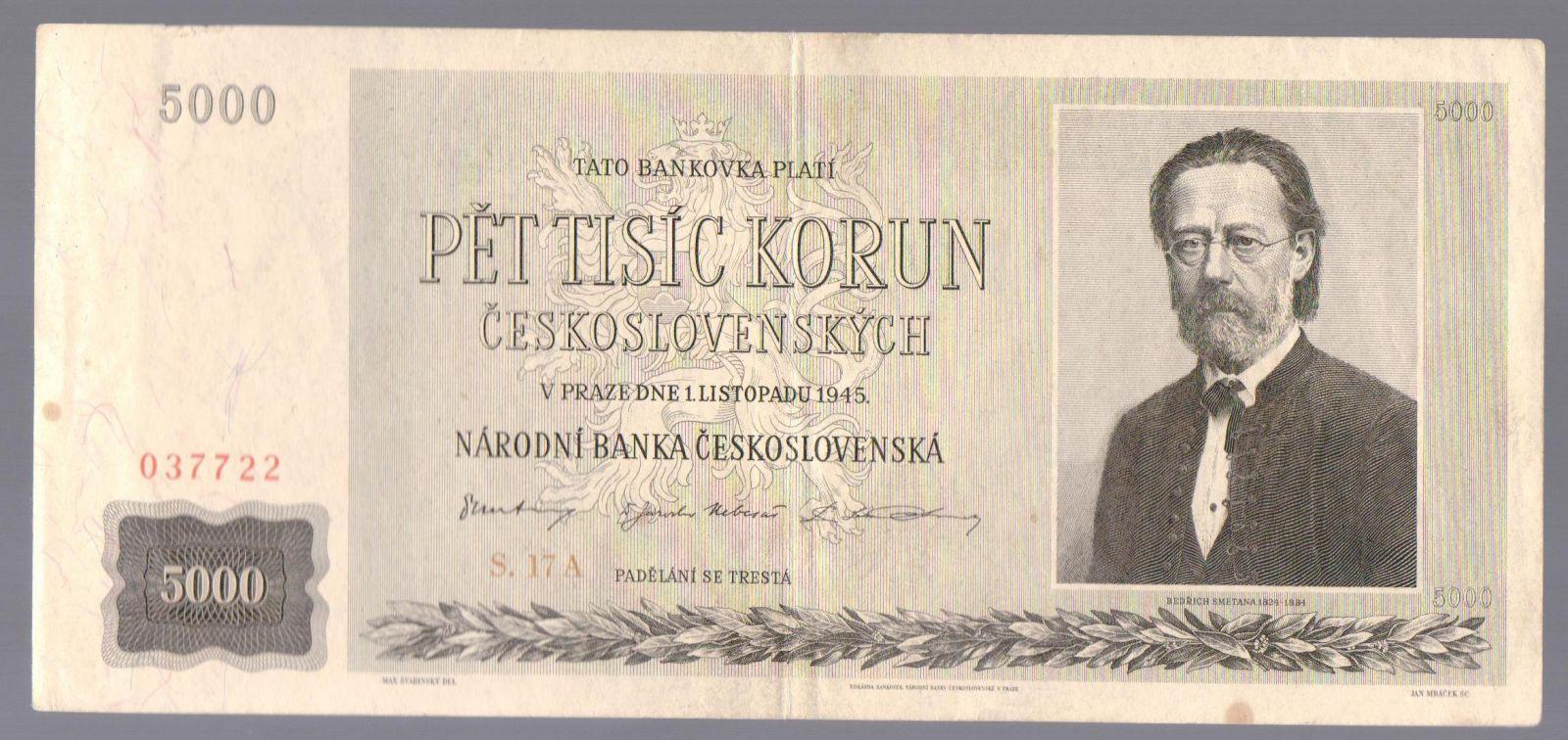 5000Kčs/1945/, stav 2, série 17 A