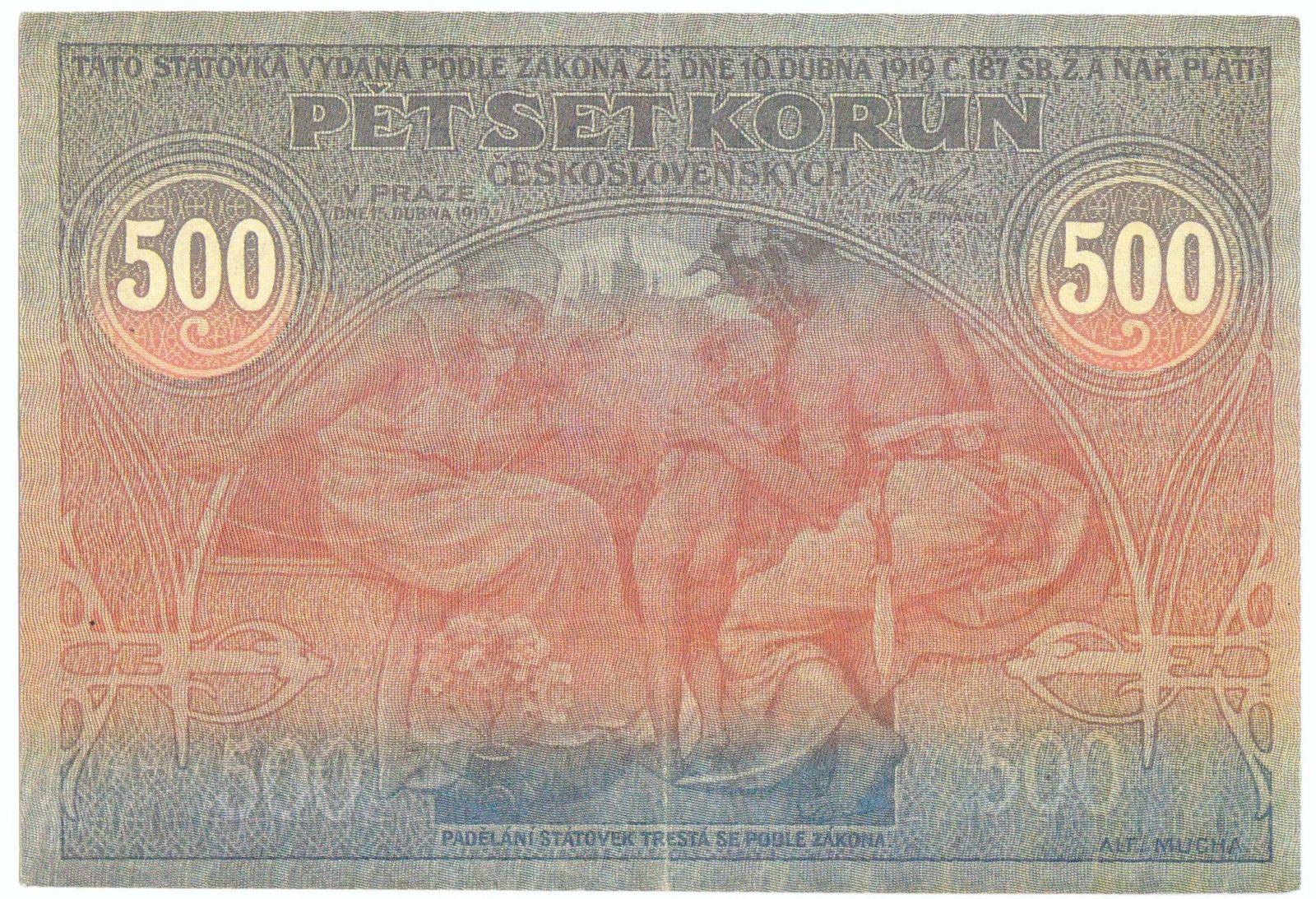 """Oficiální """"Faksimile"""" 500Kč/1919/, stav UNC, série 016"""