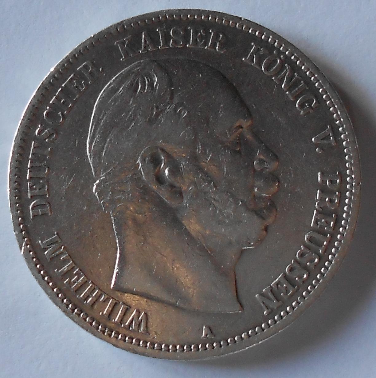 Prusko 5 Marka 1876 A Vilém I.
