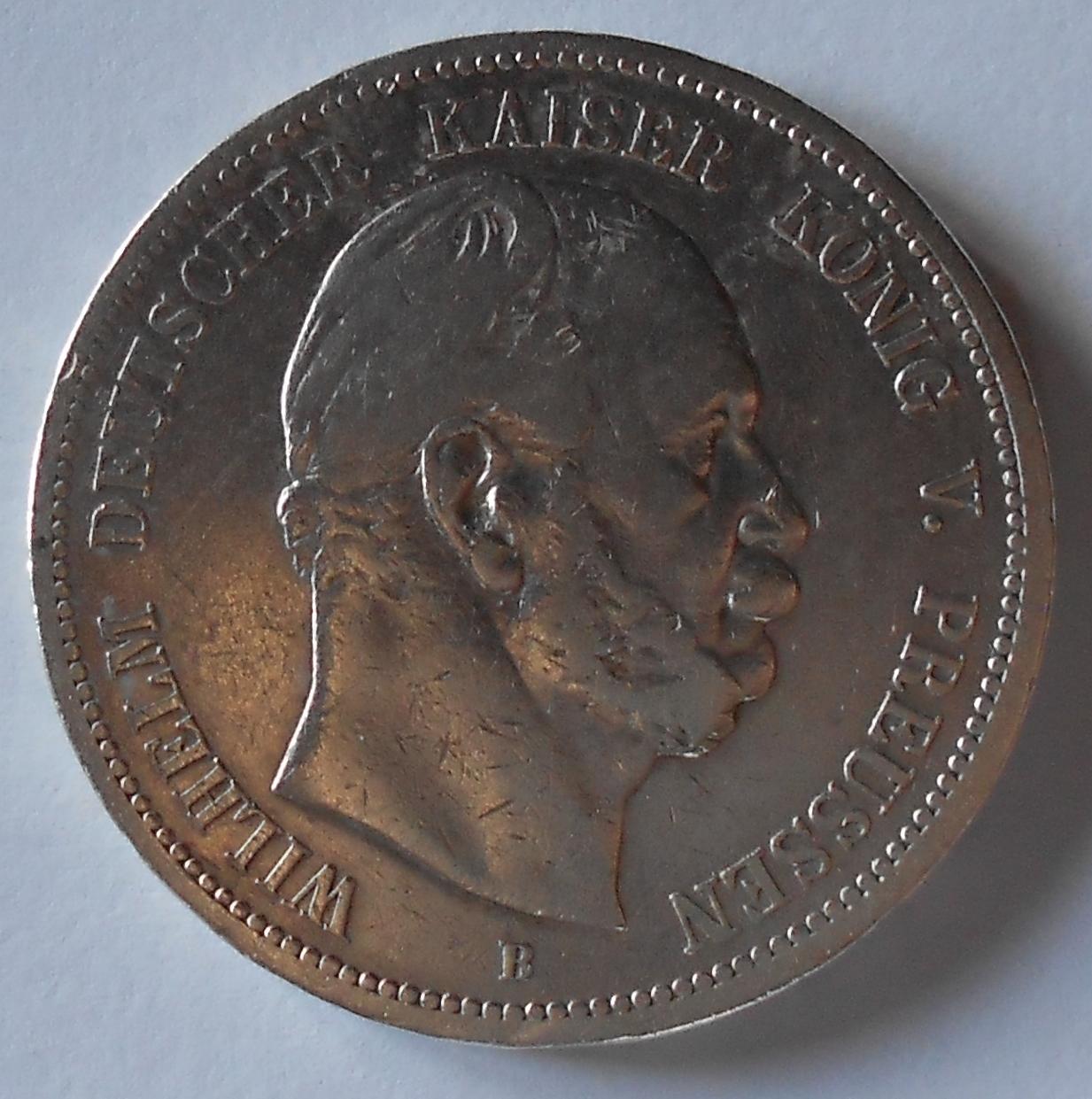 Prusko 5 Marka 1876 B Vilém I.