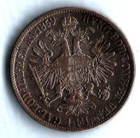 1 Zlatník/Gulden (1859-ražba A), stav 2/1-, bez tečky za REX