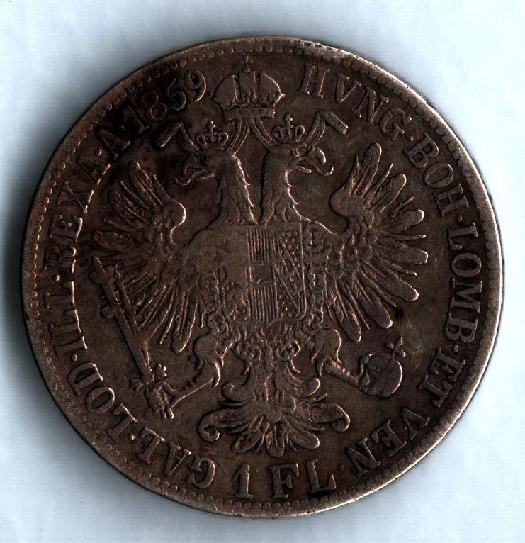 1 Zlatník/Gulden (1859-ražba B), stav 3/2-