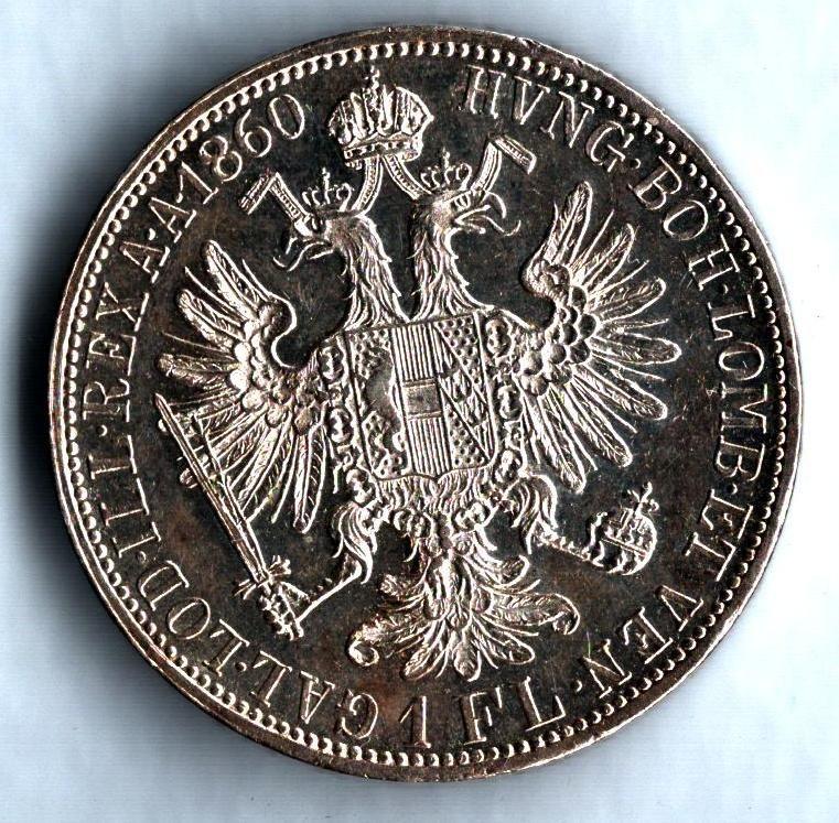 1 Zlatník/Gulden (1860-ražba A), stav 1+/0 dr.hr., bez tečky za REX