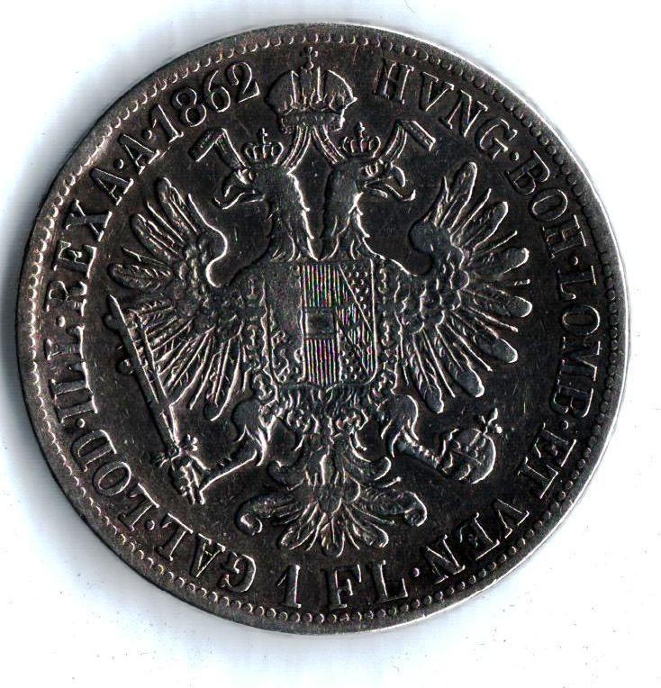 1 Zlatník/Gulden (1862-ražba B), stav 2+/1-