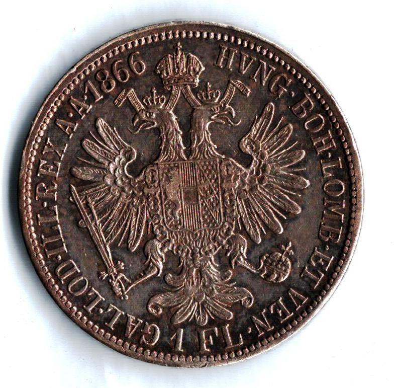 1 Zlatník/Gulden (1866-ražba A), stav 1+/1+ patina, dr.hr.