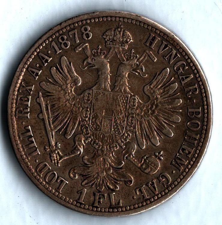 1 Zlatník/Gulden (1878-ražba bz), stav 1+/1+ patina dr.hr.