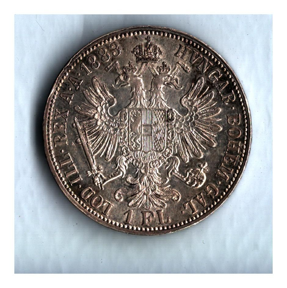 1 Zlatník/Gulden (1883-ražba bz), stav 0/0 patina, dr.hr.