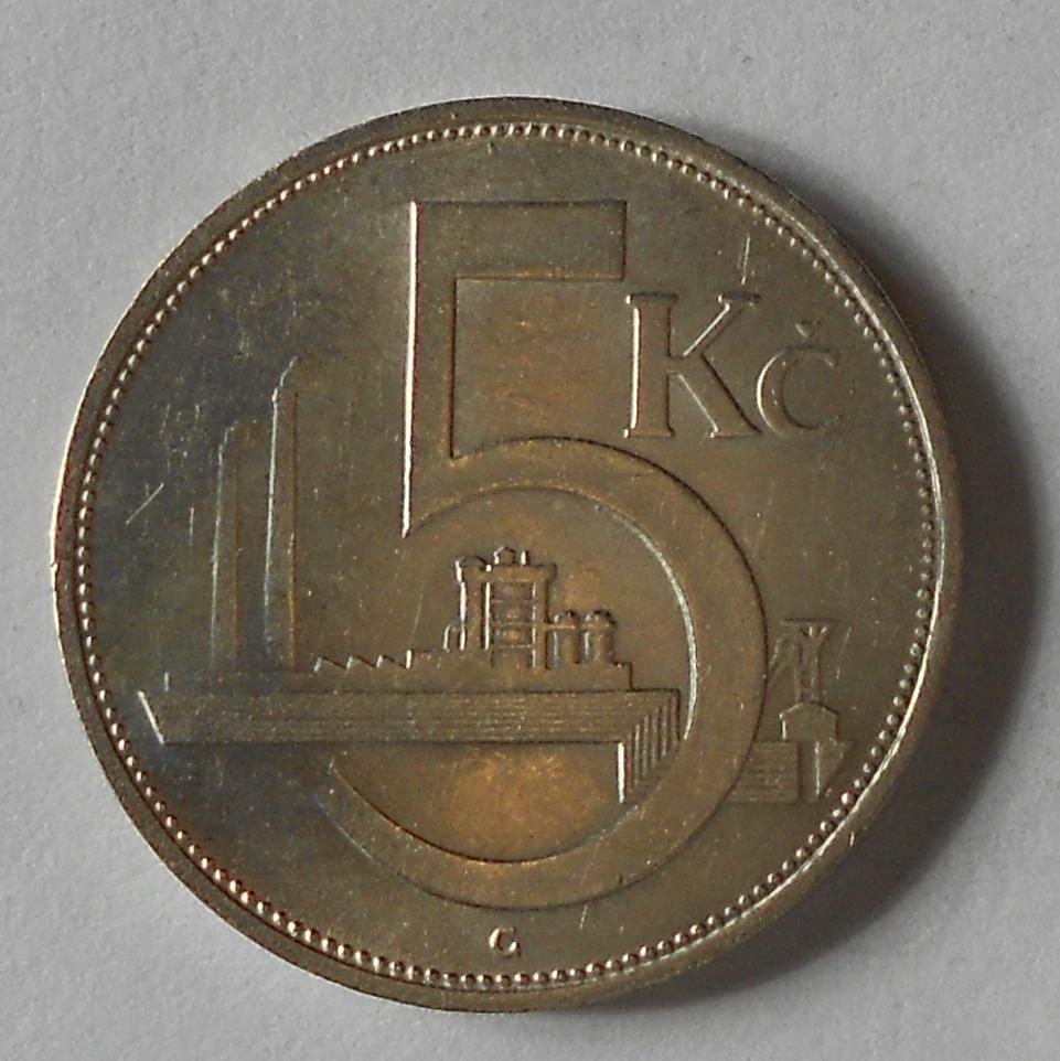 ČSR 5 Kč 1930 stav
