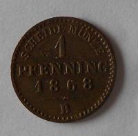 Prusko 1 Pfenik 1868