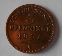 Prusko 3 Pfenik 1867 A