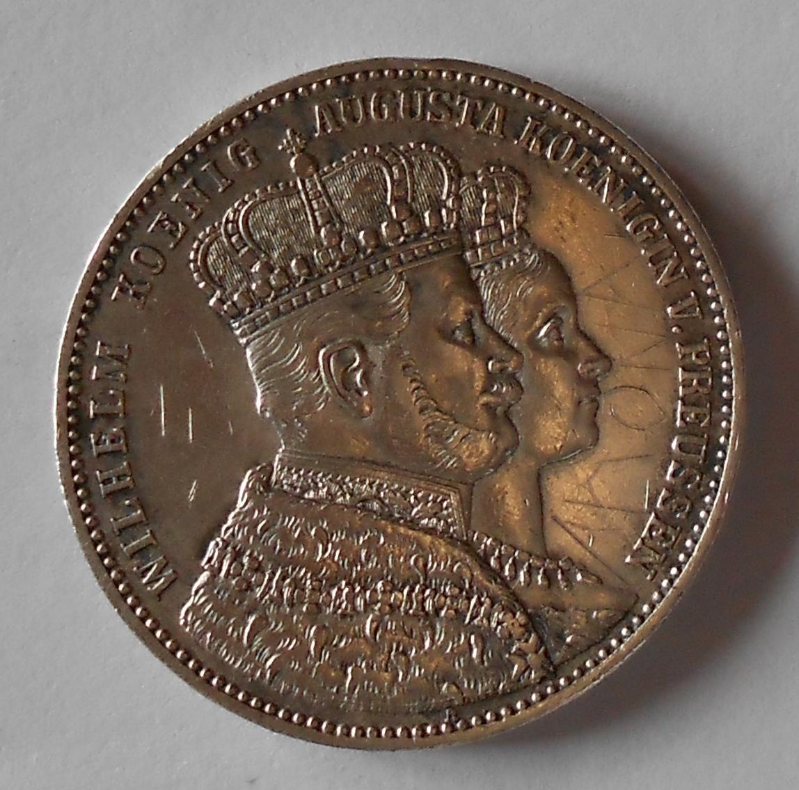 Prusko Tolar 1861 A Vilém + Augusta, korunovační