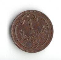 1 Haléř(1902-ražba bz), stav 1+/0 hr.