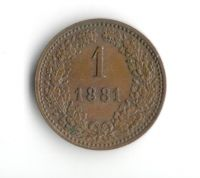1 Krejcar(1881-ražba bz), stav 1+/0, varianta větší orel