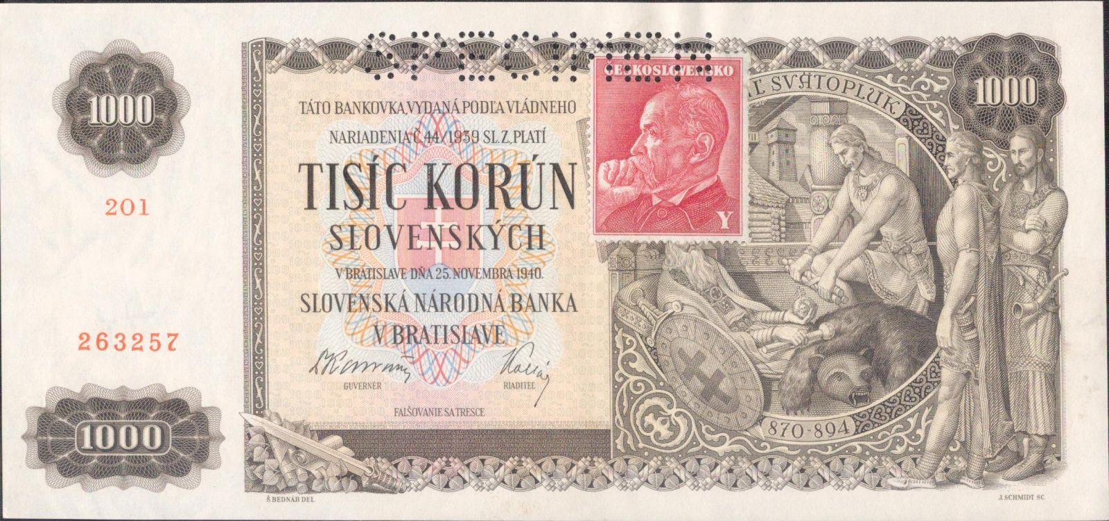 1000Ks/1940-kolek ČSR/, stav UNC perf. SPECIMEN nahoře, série 2O1