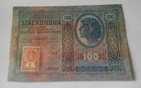 100Kč/1912-18-kolek ČSR/, stav 2+, série 1793